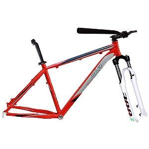 Kit Quadro Bicicleta Cly A2Z 27.7x17 com Suspensão Spinner 300 Vermelho/Cinza