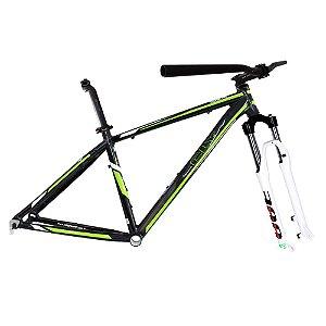 Kit Quadro Bicicleta Cly A3P 27.7x17 com Suspensão Spinner 300 Preto/Verde