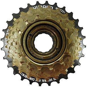 Roda Livre Shimano Tourney TZ 21 7V 14/28 Preto/Dourado