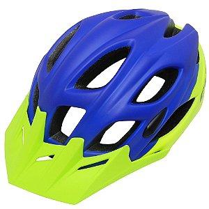 Capacete Cly In Mold All Mountain/Enduro para Ciclismo M Azul/Verde Limão