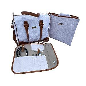 Mini Kit Organizador em Vinil Matelassê Branco