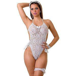 Fantasia de Body Noiva - PlayGirl - 5 Peças