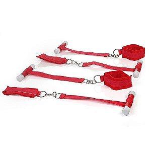 BONDAGE - Kit com 4 Amarras para Prender na Porta - Vermelho