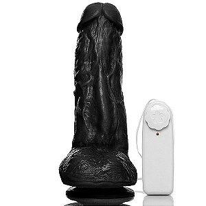Prótese com escroto, ventosa e vibro Kong - 19,5x5,5 cm - cor preto