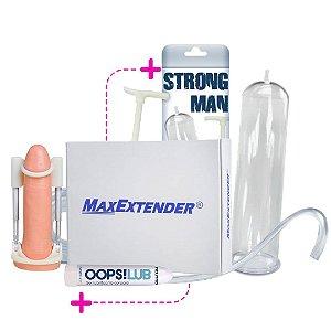 Kit Alongador Peniano - Extensor Peniano Maxextender + Bomba Strong Man + Lubrificante + Brinde
