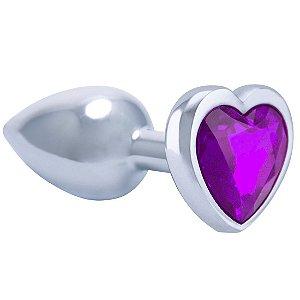 Plug Anal em Metal Cromado Coração Roxo - Gtoys