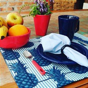 Kit Jogo Americano Tropical Abacaxi com Azul - Dupla Face - 12 unidades