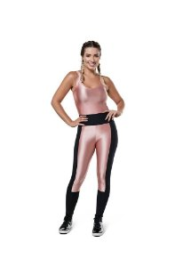 Legging Compression Resinada - Preto/Rose - M - ABSY