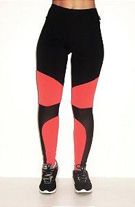 Legging Tule Fashion - Preto/Laranja