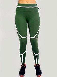 Legging Viés Slim - Light- Verde Musgo/Branco