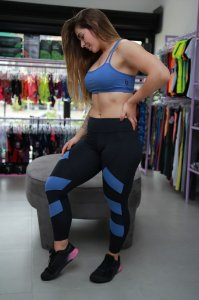 Legging Recorte Light - Preto/Azul