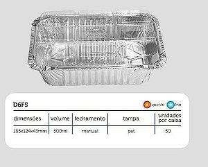 Bandeja D6 Fs - 500 ML com tampa PET - Microondas / Forno / Freezer - caixa com 50 unidades - WYDA