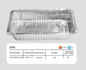 Bandeja D7 Fs - 750 ML com tampa PET - Microondas / Forno / Freezer - caixa com 50 unidades - WYDA