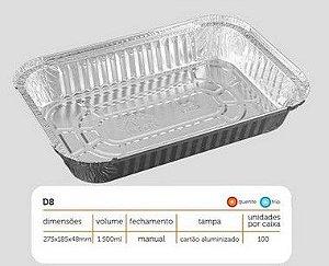 Bandeja D08 FS - 1.500ML - Microondas / Forno / Freezer - WYDA - com tampa PET - pacote com 10 unidades