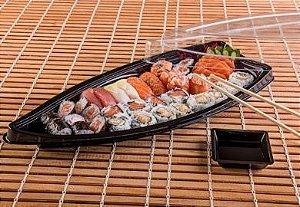 Embalagem descartável para comida japonesa - Barca Média - Galvanotek GO 933 - pacote com 10 Unidades