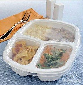 Embalagem Pote Para Freezer E Microondas - Galvanotek G  330 - 1.150ml - 3 Divisórias - caixa com 100 Unidades