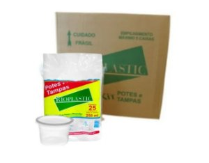 Pote com tampa caixa com 500 - 250ml - Rioplastic