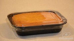 Bandeja com tampa preta caixa com 10 unidades - 800ml - Galvanotek