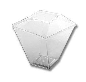 Copo quadrado com tampa 100ml cristal pacote contendo 10 unidades - Prafesta