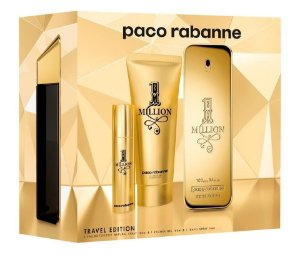 Kit 1 Million Paco Rabanne Travel Edition Eau de Toilette 100ml + Gel Banho 100ml + Travel Spray 10ml