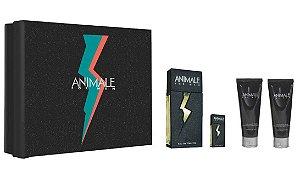 Kit Animale For Men Eau de Toilette 100ml + Pós-Barba 100ml + Gel de Banho 100ml + Miniatura - Masculino