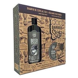 Kit QOD Barber Shop - 1 Shampoo Beer 3 em 1 240ml + 1 Bálsamo para Barba Beard Bam - 70g