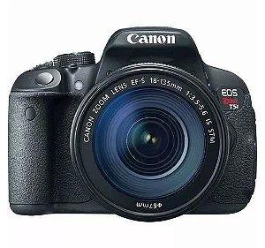 CÂMERA CANON EOS REBEL T5i LENTE 18-135mm + CAPA, TRIPÉ E SD 64GB