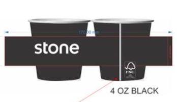 Copo de Papel Preto 120ml Personalizado (STONE) 30 mil unidades