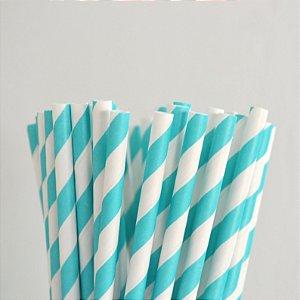 Canudo Papel Azul Aquá