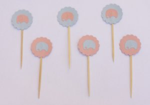 Cupcake Toppers - Elefantinho Baby