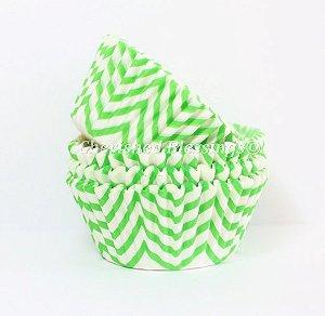 Forminha Cupcake - ZigZag Verde Limão