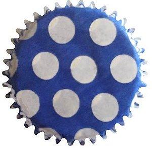 Forminha Mini Cupcake - Azul Com Bolinhas Brancas