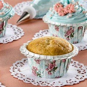 Forminha Forneável Cupcake Linha Plisse-Floral Azul/Rosa