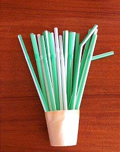 Canudo Bicolor - Verde e Branco