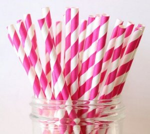 Canudo Papel Pink
