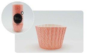 Forminha Cupcake Plissê -poá Rosa