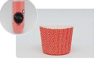 Forminha Cupcake Plissê - Poá  Vermelho