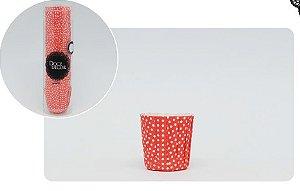 Forminha Mini  Cupcake Plissê -poá Vermelho