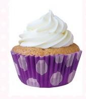 Forminha Mini Cupcake  ForneávelRoxa C/ Bolinhas Lilás