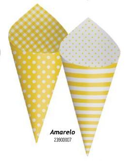 Cone Decorativo Para Festa- Amarelo