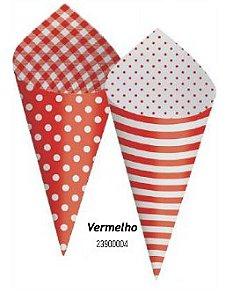 Cone Decorativo Para Festa- Vermelho