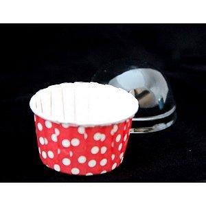 Copinho Para Cupcake Forneável-Plissê Poá Vermelho