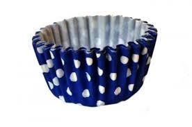 Forminha Cupcake - Azul Com Bolinhas Brancas