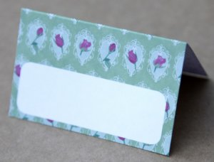 Place Card - Green_flower