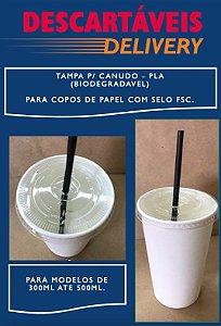 Tampa PLA (Biodegradável) para Copos de Papel com selo FSC (300ml/500ml)