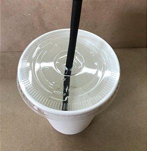 Tampa Copo de papel 300ml e 500ml C/ Furo transparente (LANÇAMENTO)
