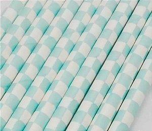 Canudo Papel Quadrado Azul