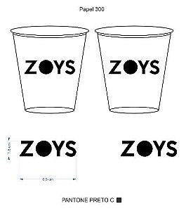 Copo impresso em uma cor ZOYS (5 mil -300ml Branco)