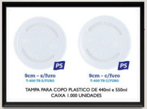 Tampa para copo plastico 440ml e 550ml (Com ou sem furo) Caixa 1.000 uni