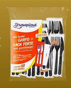 Kit-Garfo/Faca/Guardanapo -forte (50 kits) (Branca ou Preta)